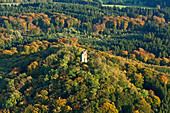 Aerial view of Kaiser Wilhelm tower, Hohe Acht is the highest mountain in the Eifel region, a tertiary volcano, Eifel, Rhineland Palatinate, Germany, Europe