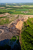 Aerial view of lava quarry, rural district of Daun, Rhineland Palatinate, Germany, Europe