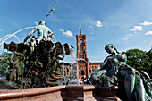 Neptune Fountain and red city hall, Alexanderplatz, Middle, Berlin, Germany