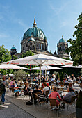 People in an outdoor cafe, Spreepalais, Berlin Cathedral, Middle, Berlin, Germany