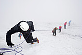 Crevasse rescue by a rope team, Taschachferner glacier, Oetztal Alps, Tyrol, Austria