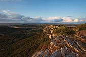 View from Puig de Randa, mountain with monastries, near Llucmayor, plain Es Pla, Mallorca, Balearic Islands, Spain, Europe