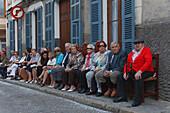 Spectators, parade, Festes de Primavera, spring festival, Manacor, Mallorca, Balearic Islands, Spain, Europe