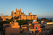 Cathedral La Seu and Palau de l'Almudaina, Almudaina Palace in the light of the evening sun, Palma de Mallorca, Mallorca, Balearic Islands, Spain, Europe