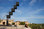 Sculpture 'Bou' at the museum of modern and contemporary art, Cathedral La Seu in the background, Palma de Mallorca, Mallorca, Balearic Islands, Spain, Europe