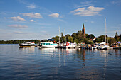 Marina at Mueritz lake, Mecklenburg lake district, Mecklenburg Western-Pomerania, Germany, Europe