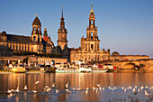 View over the Elbe river to Bruehlsche Terrasse, Staendehaus, Dresden castle and church Hofkirche in the evening light, Dresden, Saxonia, Germany