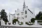 Dutch reformed church under clouded sky, Swellendam, Garden Route, South Africa, Africa