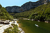 Canoe driving on the river Ardeche, Rhone-Alpes, France