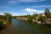 View along river Ardeche, Ruoms, Ardeche, Rhone-Alpes, France