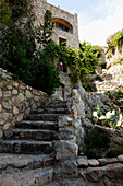 Stone stairs to an old stone house, Labeaume, Ardeche, Rhone-Alpes, France