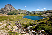 Lake Lac Roumassot, Pic du Midi d'Ossau in background, Ossau Valley, French Pyrenees, Pyrenees-Atlantiques, Aquitaine, France