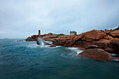 Lighthouse near Ploumanach, pink granite coast, Perros-Guirec, Cotes-d Armor, Brittany, France