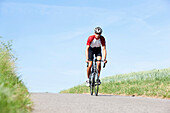 Man road cycling, Bergisches Land, North Rhine-Westphalia, Germany