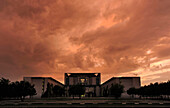 Thunder clouds above Federal Chancellery in the evening, Mitte, Berlin, Germany, Europe