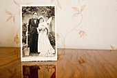 Old photograph of bride and groom on their wedding day