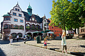 Town hall square with new and old town hall, old town, Freiburg im Breisgau, Baden-Wurttemberg, Germany