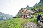 Alpine hut at Meglisalp, Alpsteingebirge, Saentis, Appenzeller Land, Switzerland, Europe