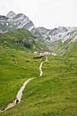 Track to Meglisalp, Alpsteingebirge, Saentis, Appenzeller Land, Switzerland, Europe