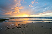Sunset over North Sea, Norderney, East Frisian Islands, Lower Saxony, Germany