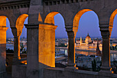 View from the Fisherman's Bastion onto the House of Parliament at Danube river, Budapest, Hungary, Europe