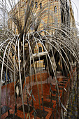Silvery weeping willow at the synagogue, Budapest, Hungary, Europe