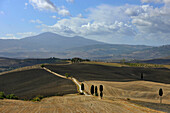 Hilly landscape under clouded sky, Crete, Tuscany, Italy, Europe