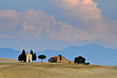 Chapel in idyllic landscape, San Quirico d'Orcia, Tuscany, Italy, Europe
