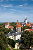 Overhead of city with churches and towers seen from Toompea hill, Tallinn, Harjumaa, Estonia