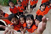 School children in uniform, near Kanchanaburi, Thailand