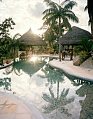 Deserted pool of Valmer Resort above Baie Lazare, south western Mahe, Republic of Seychelles, Indian Ocean