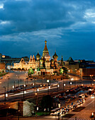 View from Kempinski Hotel over Moskva to St. Basil's Cathedral, Red Square and Kremlin, Moscow, Russia, Europe