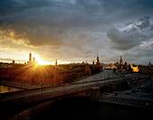 View over Moskva to St. Basil's Cathedral at sunset, Red Square and Kremlin, Moscow, Russia, Europe
