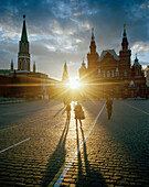 Pedestrians in front of the St. Basil's Cathedral on Red Square in the evening, Moscow, Russia, Europe