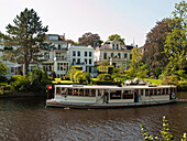 Historic Alster steamer on the Alster river, Hanseatic City of Hamburg, Germany