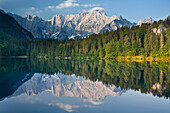 Reflections on lake Laghi di Fusine, Mangart, Julian Alps, Italy, Europe