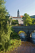 View of river and bridge in front of Zwettl abbey, Waldviertel, Lower Austria, Austria, Europe