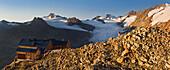Alpine hut in the sunlight, Ramolhaus, Obergurgl, Oetztal Alps, Tyrol, Austria, Europe