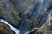 Voringfossen water fall and bjoreia river, flowing into Voringfossen, Mabodalen, Hordaland, Norway