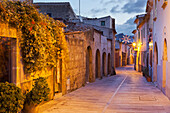 Deserted alley in the early morning, Alcudia, Mallorca, Spain, Europe