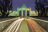 Triumphal arch and Jubilee Park at night, Brussels, Belgium, Europe