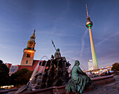 Neptune Fountain, St Marys Church, Television Tower, Alexander Square, Berlin Mitte, Berlin, Germany
