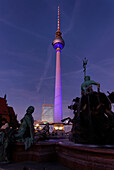 Neptune Fountain, Television Tower, Alexanderplatz, Berlin center, Berlin, Germany