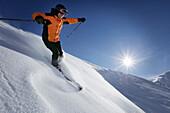 Skier sking down a slope, Festkogel, Obergurgl, Tyrol, Austria