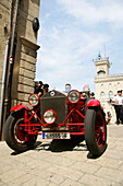Vintage car at the old town in front of the castle, San Marino, Italy, Europe