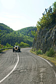 Vintage car on a country road, Spoleto, Umbria, Italy, Europe