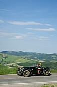 Veteran car on a country road, Loiano, Pianoro, Bologna, Italy, Europe
