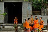 Buddhist monks, novice, Wat Xieng Muan, Luang Prabang, Laos