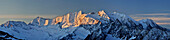 Panorama of Zillertal mountain range with Hochfeiler and Hochferner, Zillertal Alps, Zillertal, Tyrol, Austria