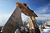 Cairns at Peterskoepfl with view towards the Zillertal mountain range, Zillertal Alps, Zillertal, Tyrol, Austria